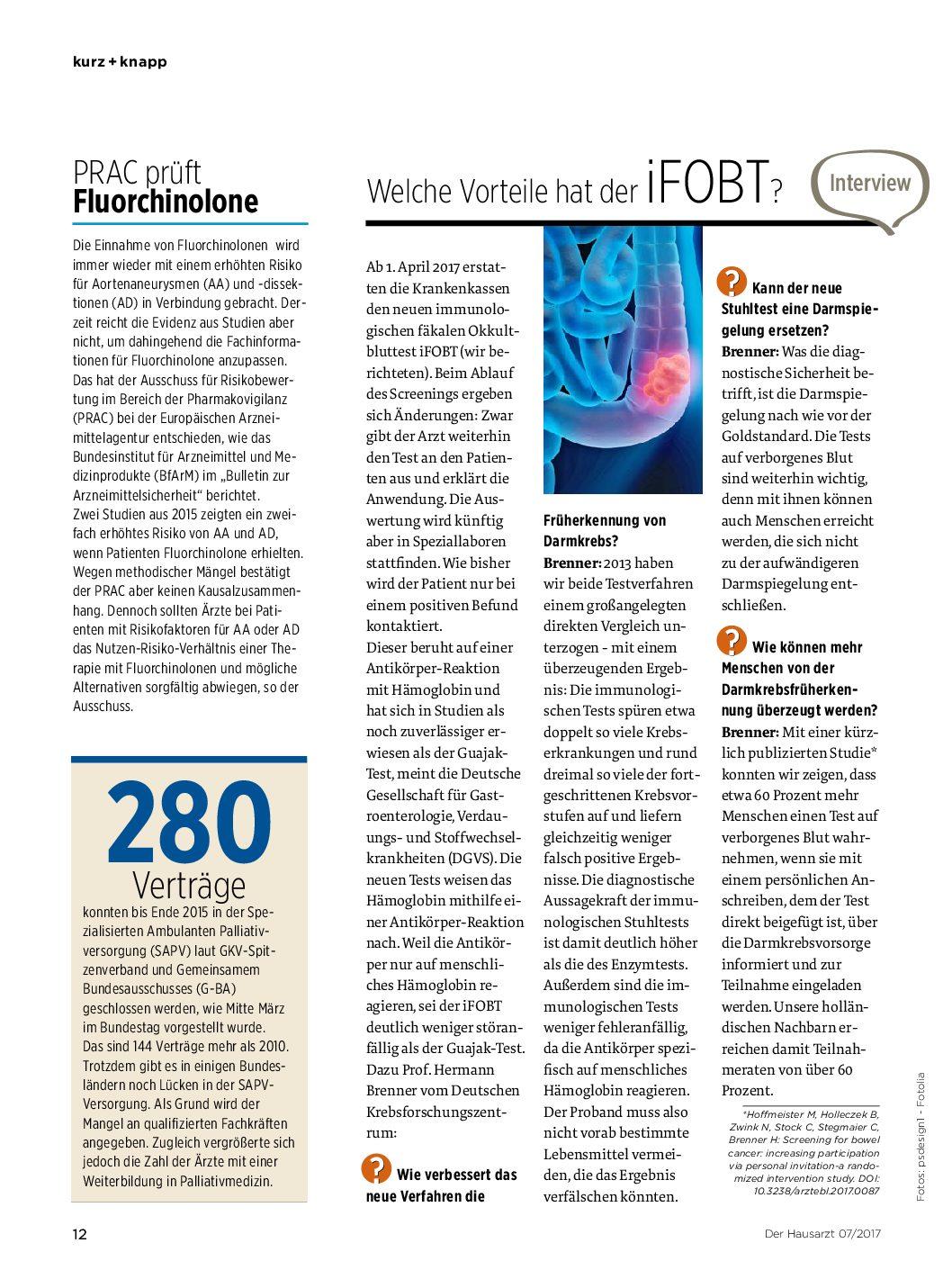 Welche Vorteile hat der iFOBT? – Der Hausarzt