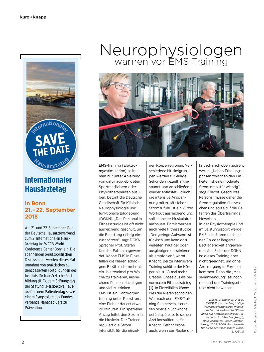 Neurophysiologenwarnen vor EMS-Training – Der Hausarzt